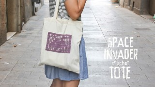 Space Invader Crochet Tote